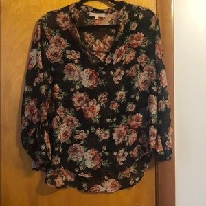Almost Famous Black & Pink Sheer Floral Blouse